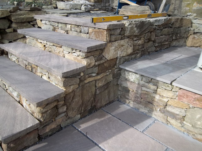 Dry Stack Stone Steps with Brownstone Treads