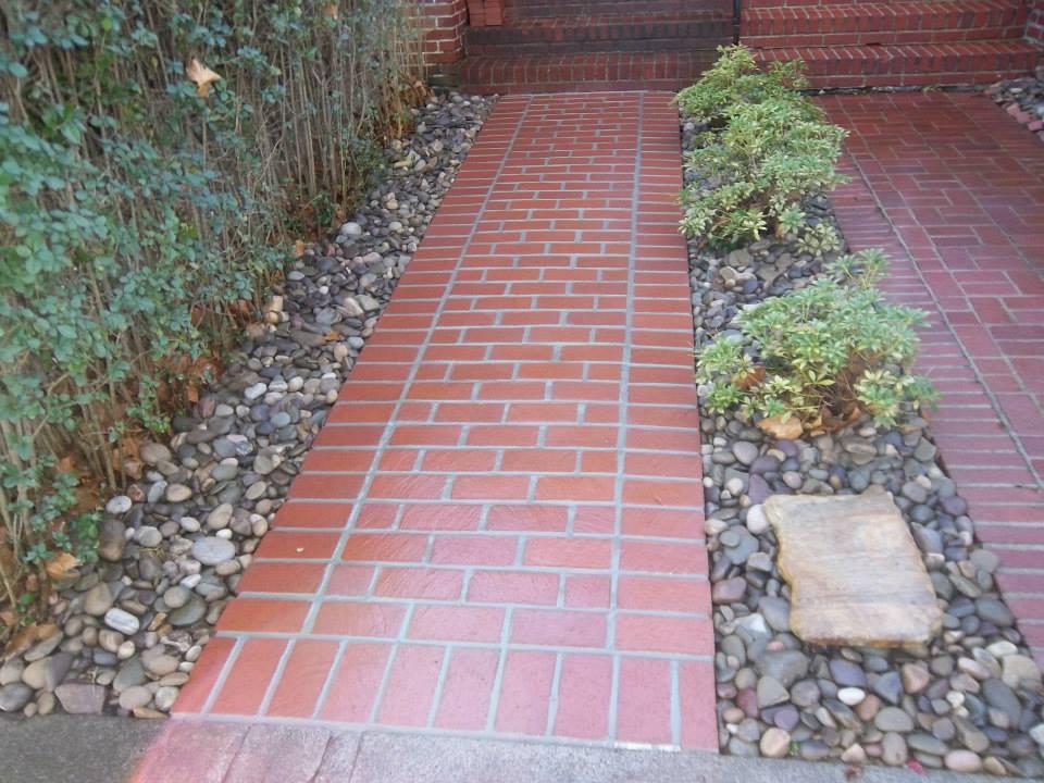 Mortared Brick Walkway