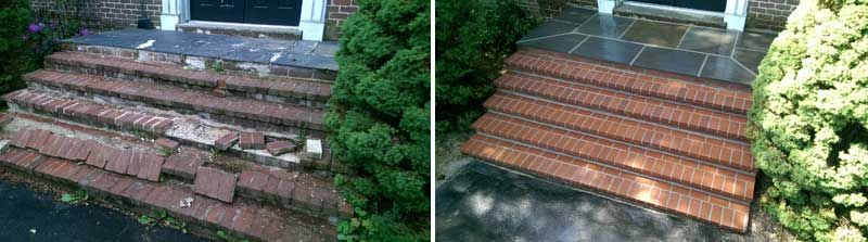 brick steps, before and after