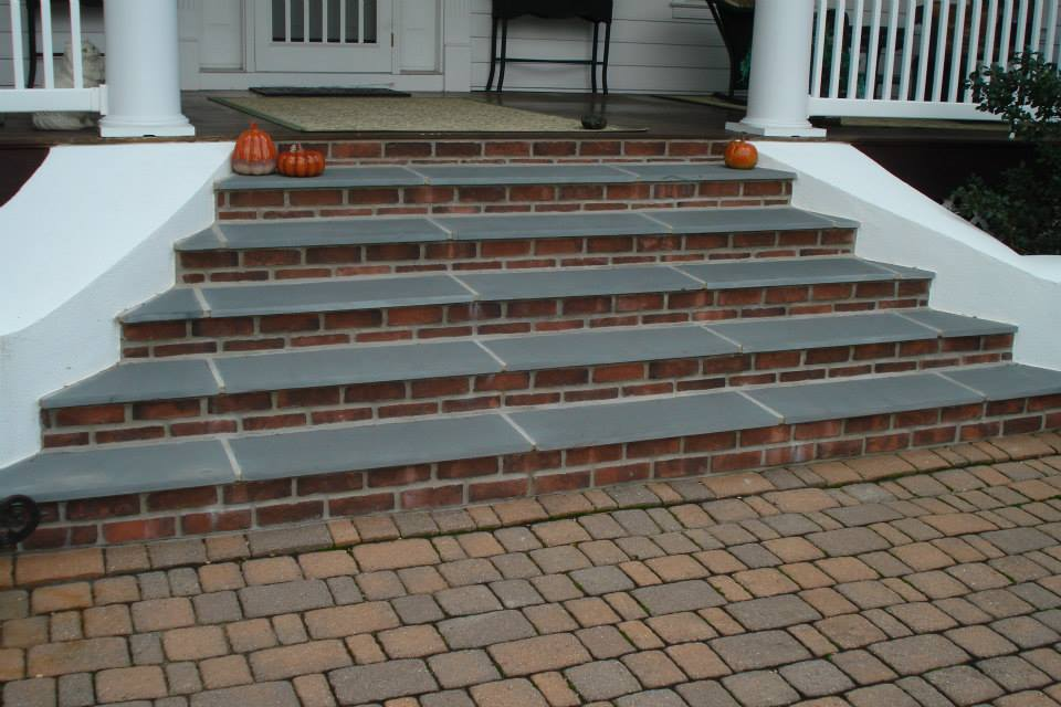 Brick Veneered Steps with Flagstone Treads